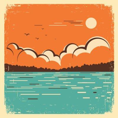 Póster paisaje con azul Big Lake en el cartel de edad