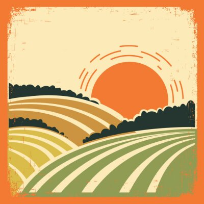 Póster paisaje con campos en el cartel de edad