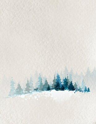 Póster paisaje de invierno con bosque de abetos y los ciervos