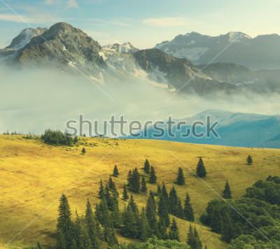 Póster paisaje de montaña, montaña rocosa en una niebla beound a grass hills
