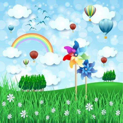 Póster Paisaje de primavera con molinillos de viento y globos aerostáticos