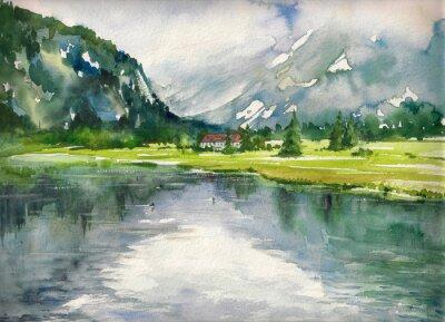 Póster Paisaje de verano con lago de montaña pintado con acuarelas