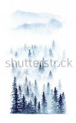 Póster Paisaje del invierno de la acuarela de un bosque en niebla. Piceas afectadas sobre fondo blanco