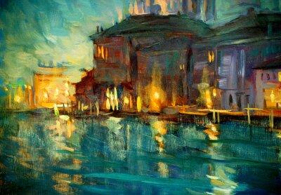 Póster paisaje nocturno a Venecia, pintura de óleo sobre madera contrachapada, illustrat