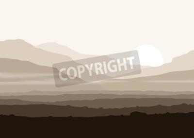 Póster Paisaje sin vida con montañas enormes sobre el sol. Vector panorama eps10.