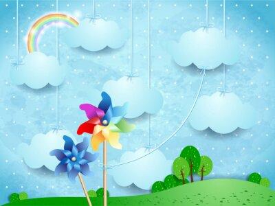 Póster Paisaje surrealista con pinwheels y nubes colgantes