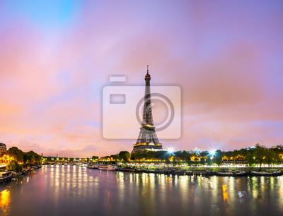 Póster Paisaje urbano de París con la torre Eiffel