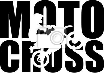 Palabra del motocrós con el recorte de la silueta