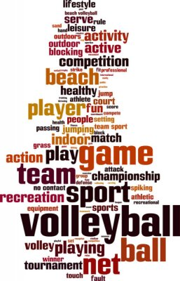 Póster Palabra Voleibol concepto de nube. Ilustración vectorial