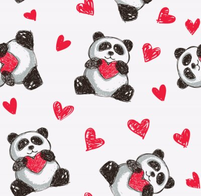 Póster panda corazón celebración de fondo sin fisuras