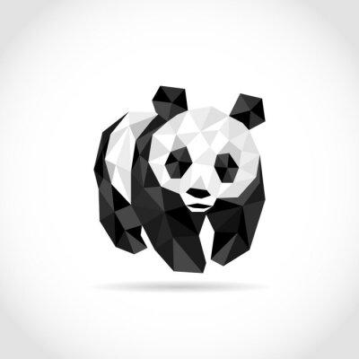 Póster Panda en estilo poligonal. Bajo diseño de poli en triángulos
