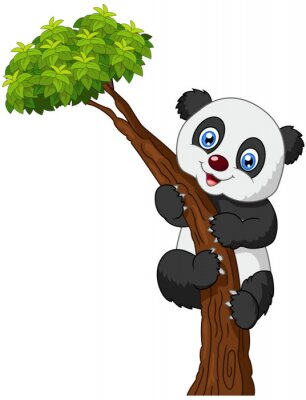 Póster Panda linda escalada de árboles de dibujos animados