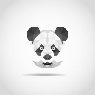 Póster Panda moderno en estilo poligonal