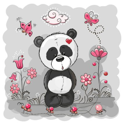 Póster Panda with flowers