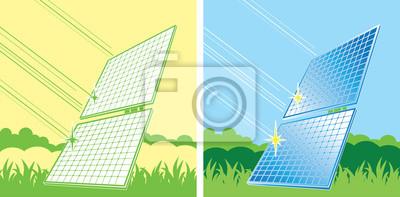 Paneles solares en el color
