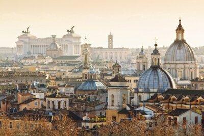 Póster Panorama de la ciudad vieja, en Roma, Italia