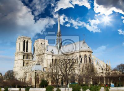 Panorámica de la catedral de Notre Dame de la orilla del riv