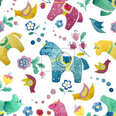 papel pintado divertido caballo patrón de flores pájaro