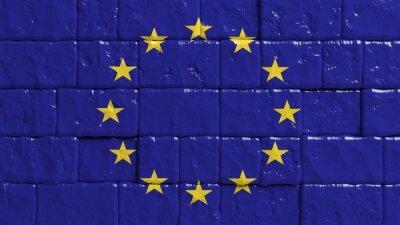 Póster Pared de ladrillo con bandera pintada de la Unión Europea