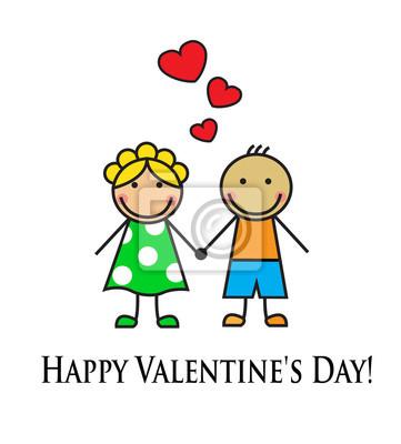 Pareja De Dibujos Animados En El Amor Carteles Para La Pared