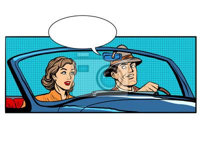 Pareja, hombre, mujer, convertible, coche