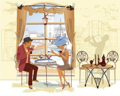 Póster Pareja, hombre y mujer, en el café.