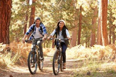 Póster Pares afroamericanos que recorren con bicicleta el otoño