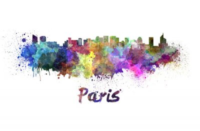 Póster París V2 horizonte en acuarela