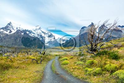 Parque nacional Torres del Paine montañas y paisaje de la carretera, Patagonia, Chile, América del Sur