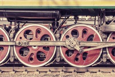 Póster Parte mecánica y las ruedas de la locomotora de vapor.