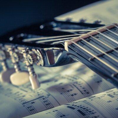 Póster particolare di chitarra con spartito