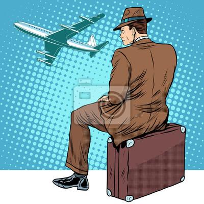 Pasajero el aeropuerto esperando salida
