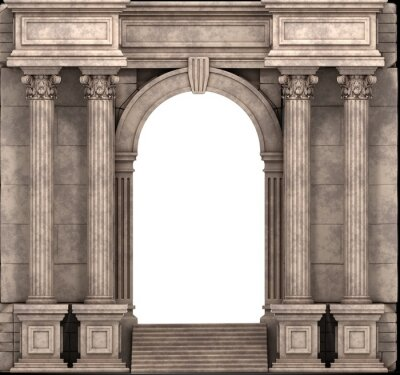Póster Pasos de piedra y el modo de entrada con columnas corintias. 3d.