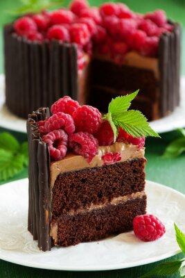 Póster Pastel de chocolate con frambuesas.