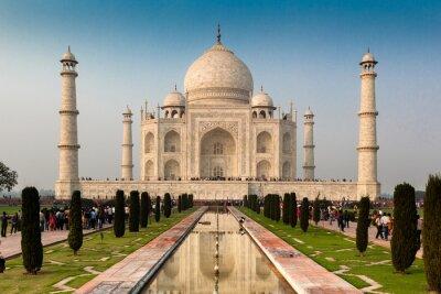 Póster Patrimonio de la Humanidad por la UNESCO del Taj Mahal, Agra, Rajastán, India