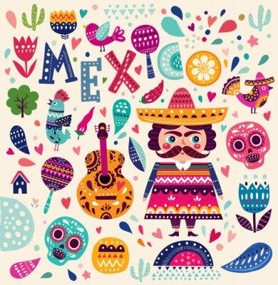 Póster Patrón con símbolos de México