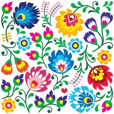 Póster Patrón de arte popular polaco floral en la plaza - Wycinanki