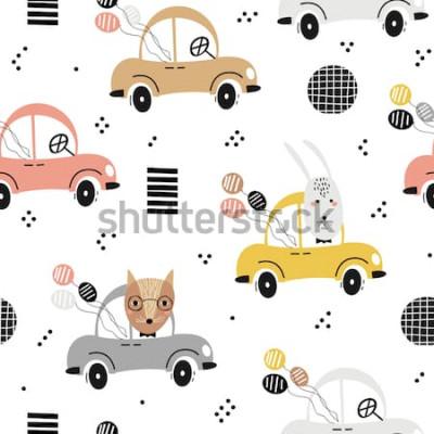 Póster Patrón de bebé sin fisuras con lindo zorro, conejo en el coche. Textura creativa para niños para tela, textil, papel tapiz y envoltura. Ilustración vectorial