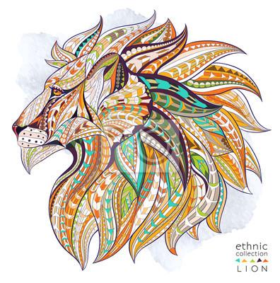 Póster Patrón de la cabeza del león en el fondo del grunge. Diseño africano / del indio / del tótem / del tatuaje. Puede ser utilizado para el diseño de una camiseta, un bolso, una postal, un cartel y así su