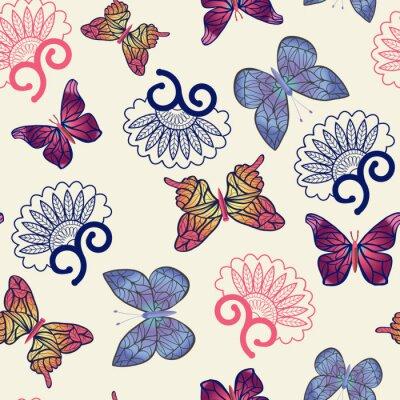 Póster Patrón de las mariposas del vector.