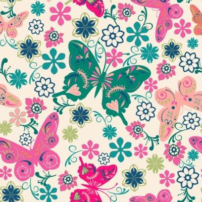 Póster patrón de mariposas y flores-ilustración
