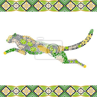 Póster Patrón de puma de salto creativo hecho de flores, hojas en el estilo escandinavo. Huella animal. Ilustración de vector wildcat