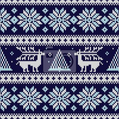 Póster Patrón de tejido sin costuras con copos de nieve, ciervos, abetos y otros elementos de invierno. Diseño de suéter azul de Navidad en estilo escandinavo. Vector de textura de punto