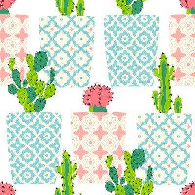 Póster Patrón de vectores con cactus. Cute cactus flores en macetas ornamentales. Ilustración de dibujo a mano.