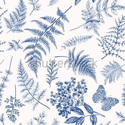 Póster Patrón floral sin fisuras en el estilo vintage. Varias hojas de helechos, bayas y mariposas. Ilustración botánica del vector. Azul.