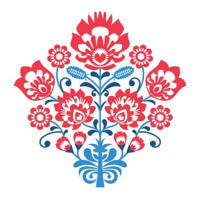 Póster Patrón polaco del arte popular con las flores - Lowickie wzory, wycinanka