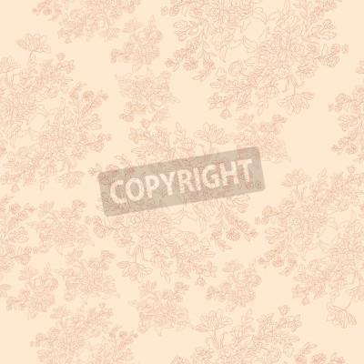Póster patrón retro transparente con flores rococó, motivo elegante lamentable