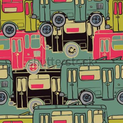 Póster Patrón sin costuras textil de autobuses de colores