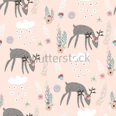 Póster Patrón sin fisuras con ciervos, elementos florales, ramas. Fondo creativo del bosque. Perfecto para ropa de niños, telas, textiles, decoración de viveros, papel de regalo. Ilustración vectorial