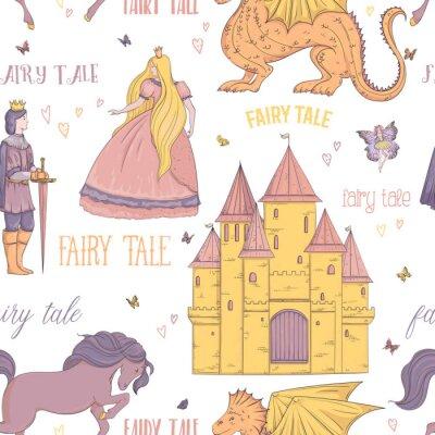 Póster Patrón sin fisuras con el príncipe, princesa, castillo, dragón, hada, caballo. Tema de cuento de hadas. Objetos aislados Ilustración de vector vintage